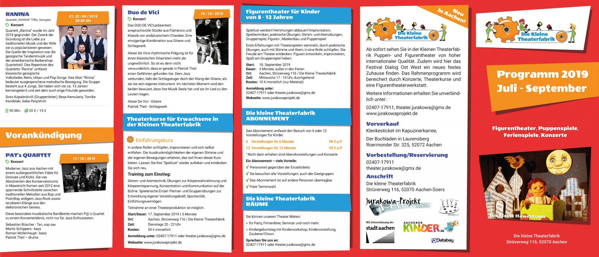 Programm Juli-August der Kleinen Theaterfabrik